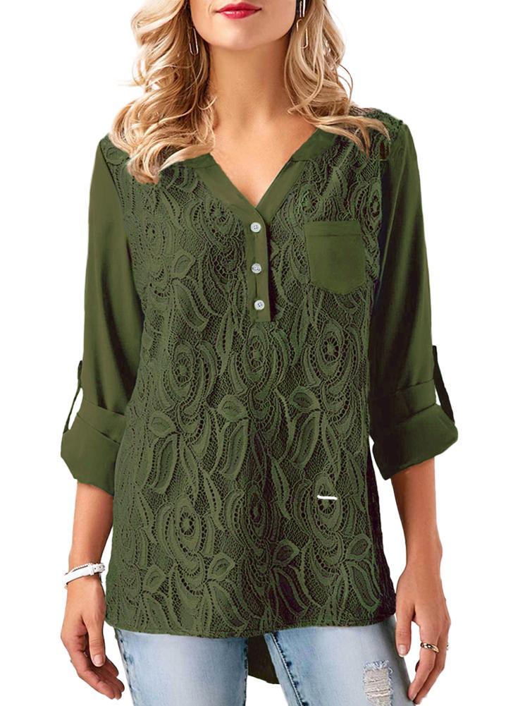 Frauen Chiffon Spitzenhemd Bluse V-Ausschnitt Roll-up lange Ärmel geknöpfte  Gesäßtasche Asymmetrische Casual 25574239b0