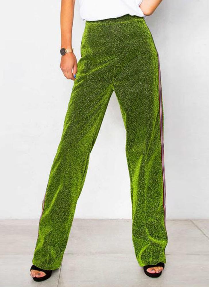 Pantalones de pierna elásticos con cintura elástica recta de cintura para mujer