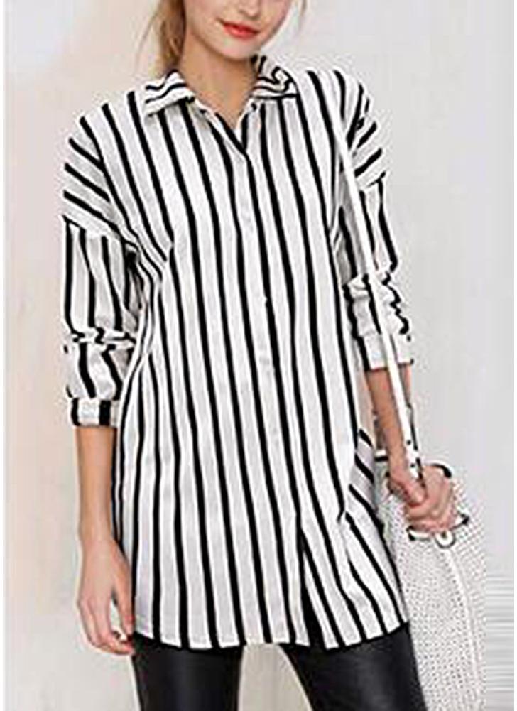 275a5686bc07e Striped Turn-down Collar Long Sleeve Long Shirt
