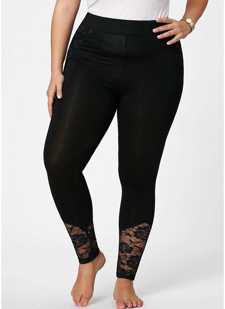 Women Lace Patchwork Leggings High Waist Solid Color