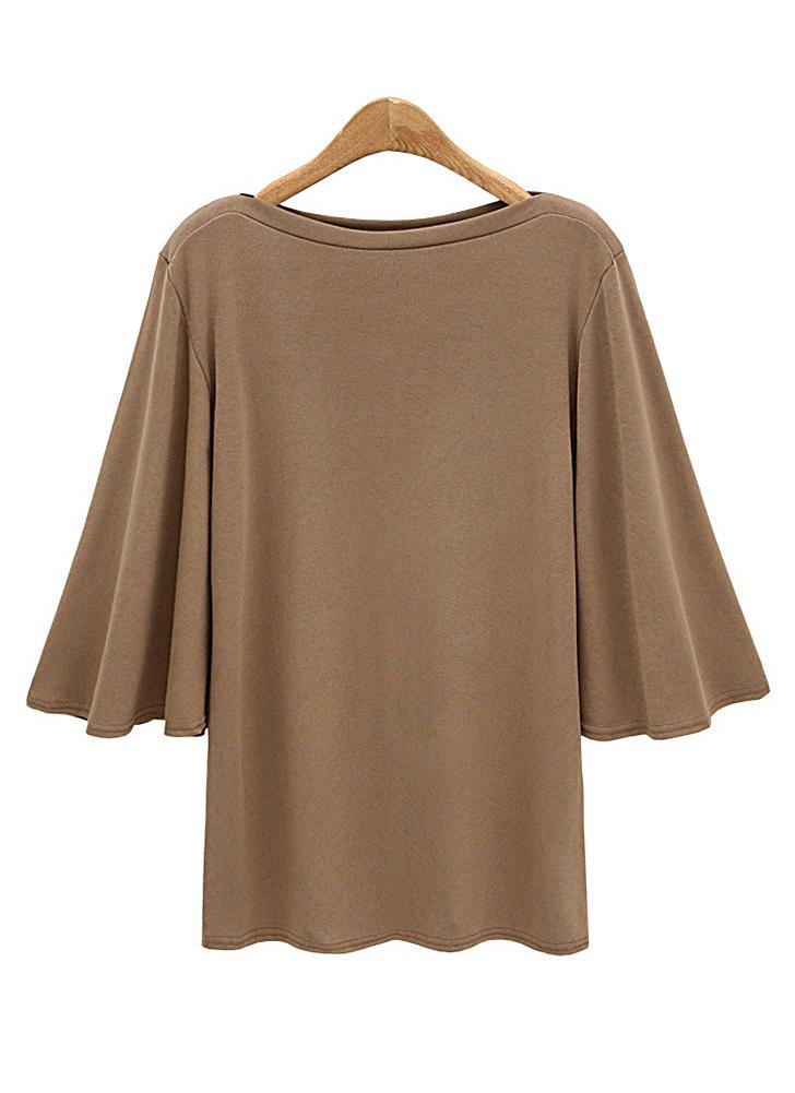 Frauen Fledermausärmel plus Größe O Hals 3/4 Ärmel T-Shirt