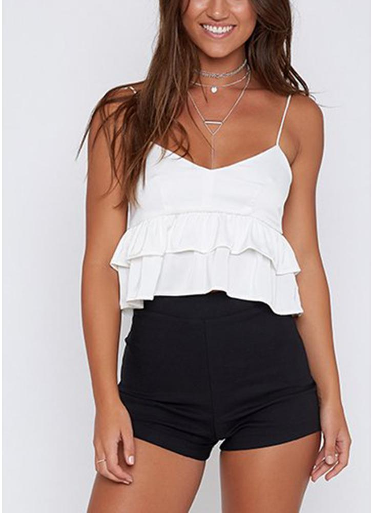 Spaghetti Strap Top Babados em camadas V Neck Sem Mangas Backless Crop Top