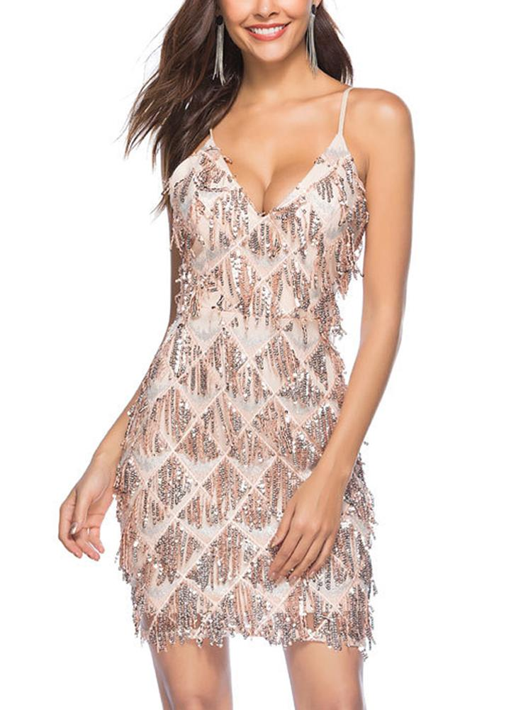 Women Bodycon Sequined Dress Backless Spaghetti Strap Party Club Slim Mini  Dresses 13ff5d3a0275