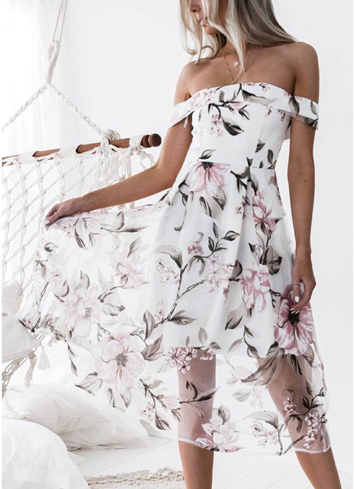 Women Dress Floral Print Backless  Zip Back Midi A-Line Party Dresses