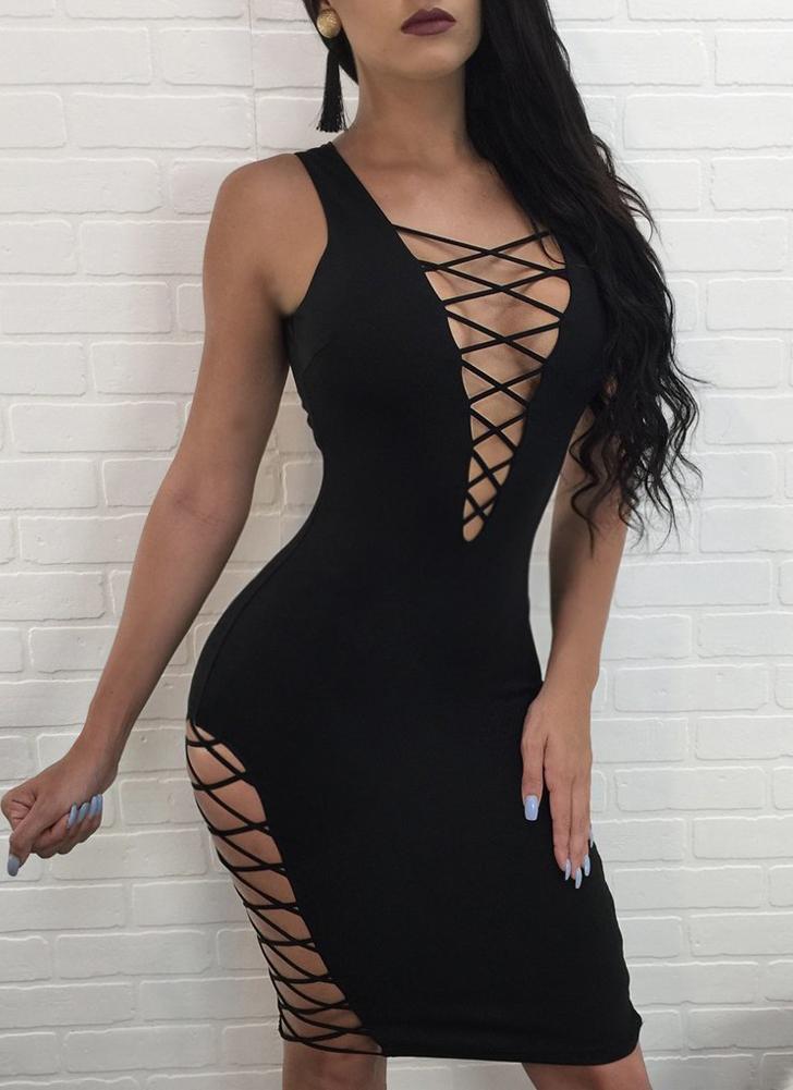 Plunge V Sleeveless Cross Strap Bandage Cut Out Bodycon Mini Dress