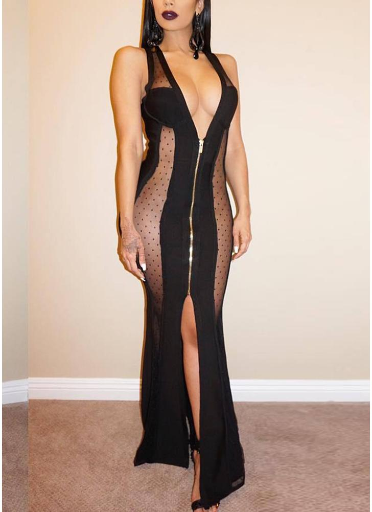 Sheer Mesh Deep V Sleeveless Split Zip Slim Maxi Dress