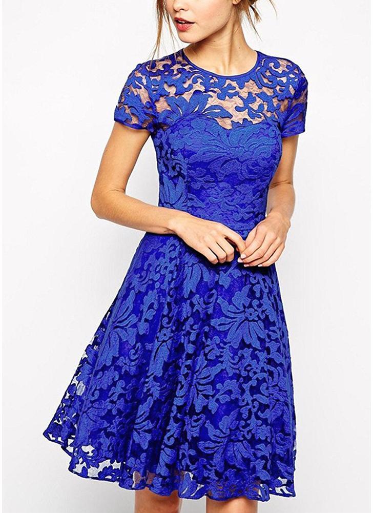 xl azul Vestido de encaje plisado de manga corta de cuello redondo ...