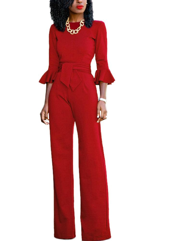 Sexy Women Jumpsuit O-Neck Flare Half Sleeves Belt Wide Legs Solid Elegant Casual Romper