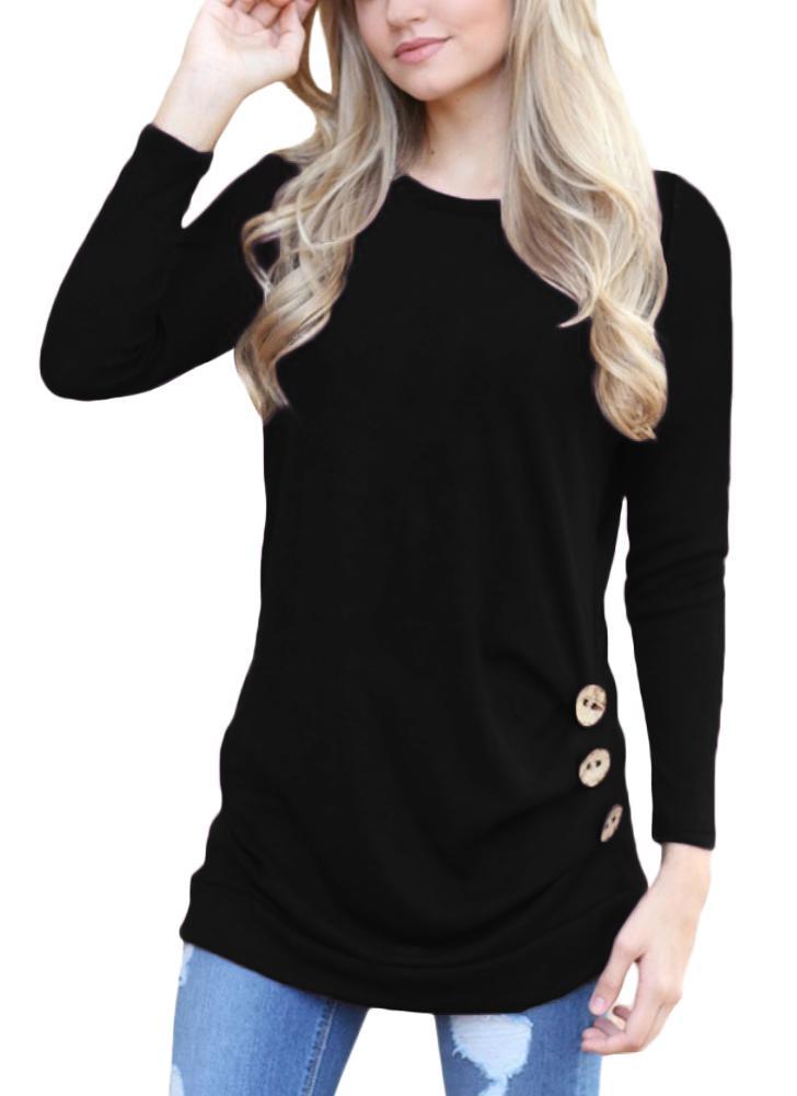 Camiseta con botones laterales de manga larga