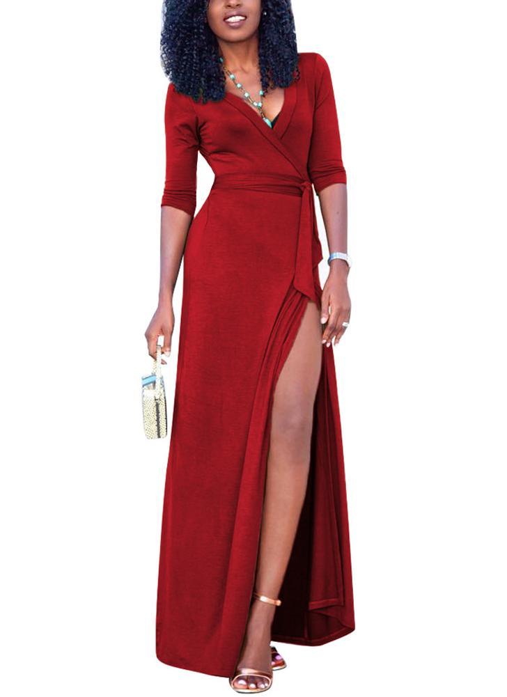 Sexy Women Maxi Dress Deep V Neck Side Split Three Quarter Sleeve Solid Slim Элегантное длинное платье с длинным рукавом