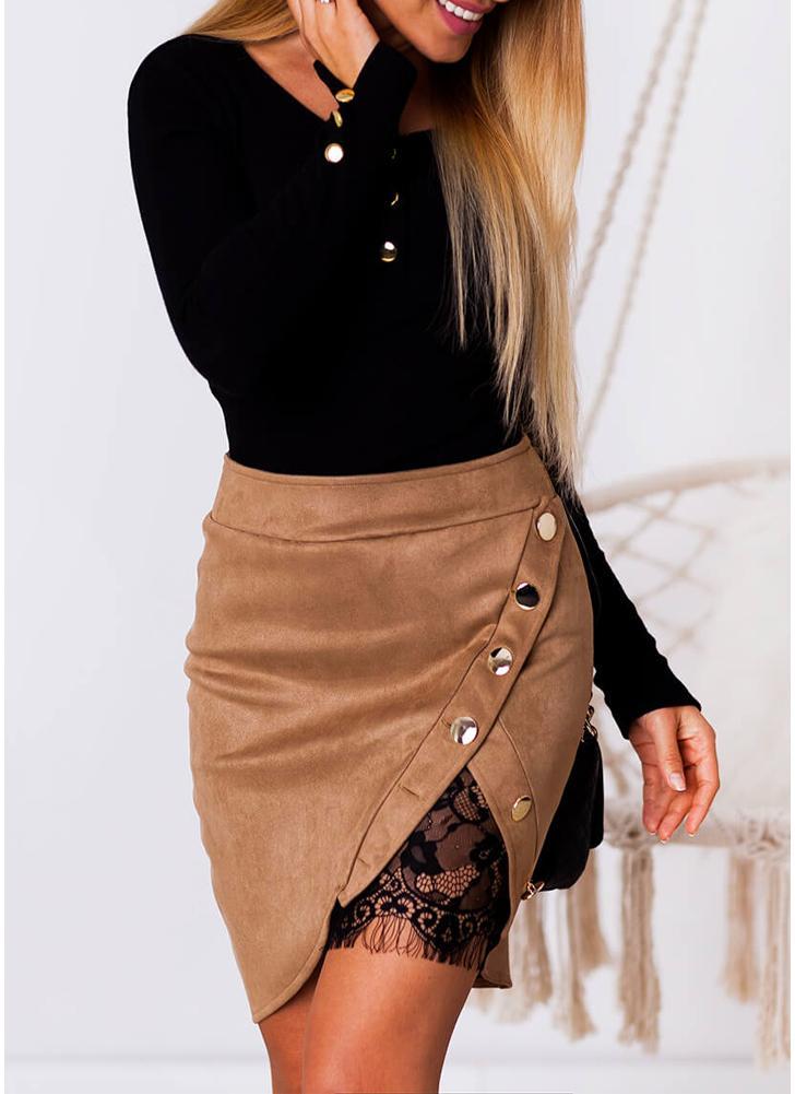 cb7512646614 Mode Frauen Faux Wildleder Hohe Taille Spitze Splice Taste Preppy Bodycon  Minirock