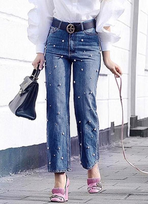 Moda mujer Denim Jeans Pearl Beads cintura alta casual pantalones anchos de pierna larga