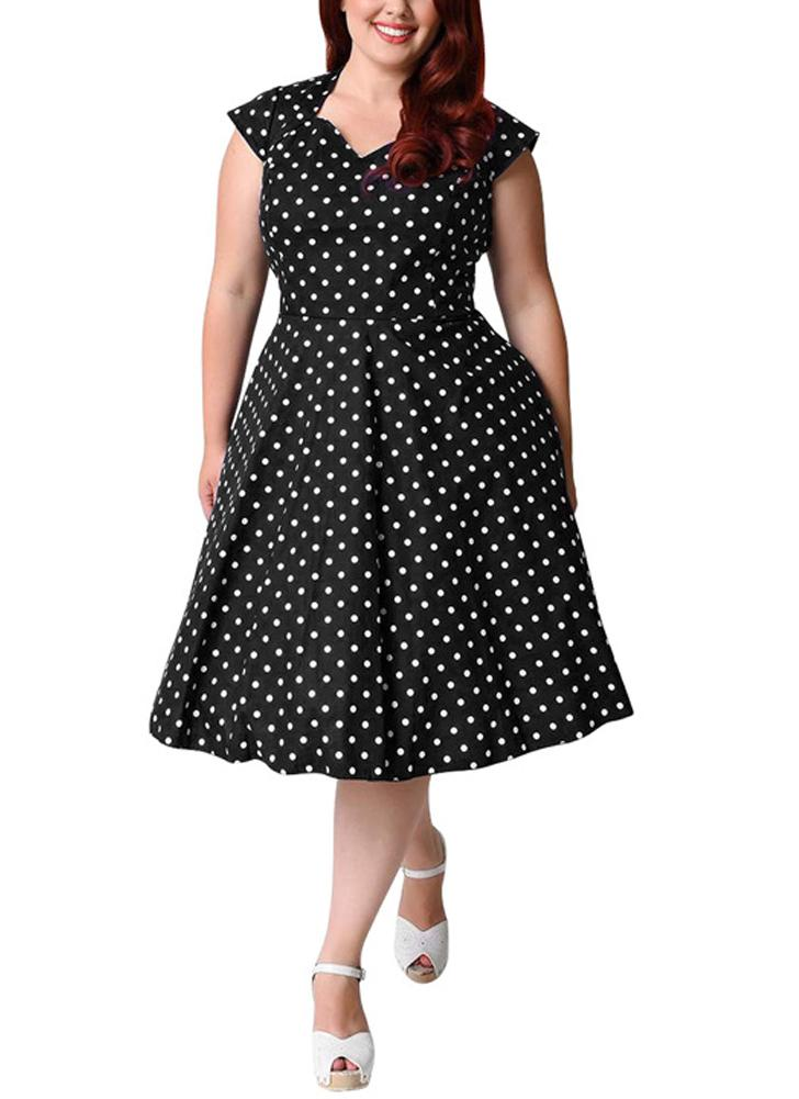 Women Retro Polka Dot Dress 1950s 60s Swing Dress A-Line Party Midi Dress 68b7c651c5d1