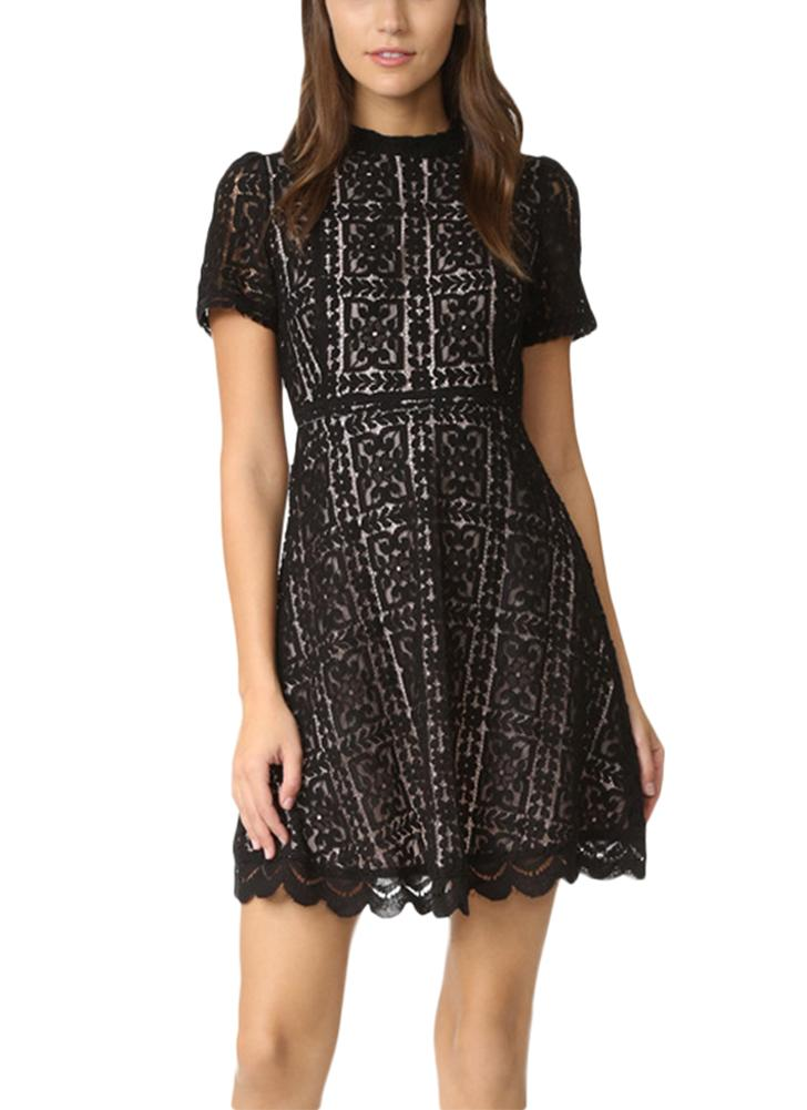 Vestido Sexy Sexy Lace See Through Slim Casual Mini A-Line Dress