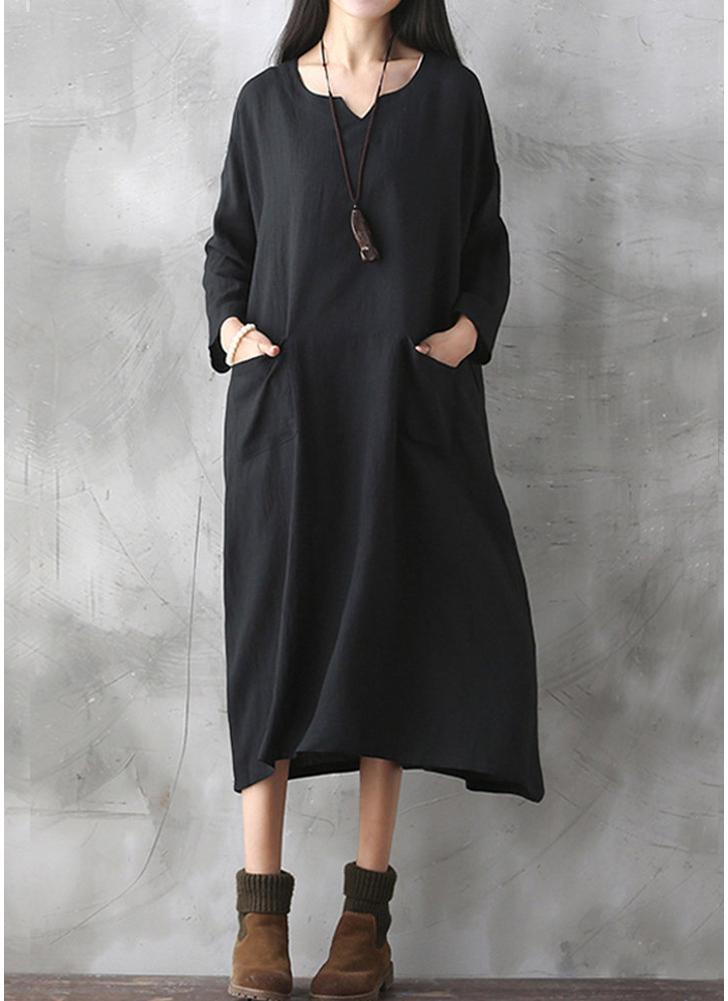 Oversized Women Retro Dress Casual Loose Long Dress Pockets Solid Dress