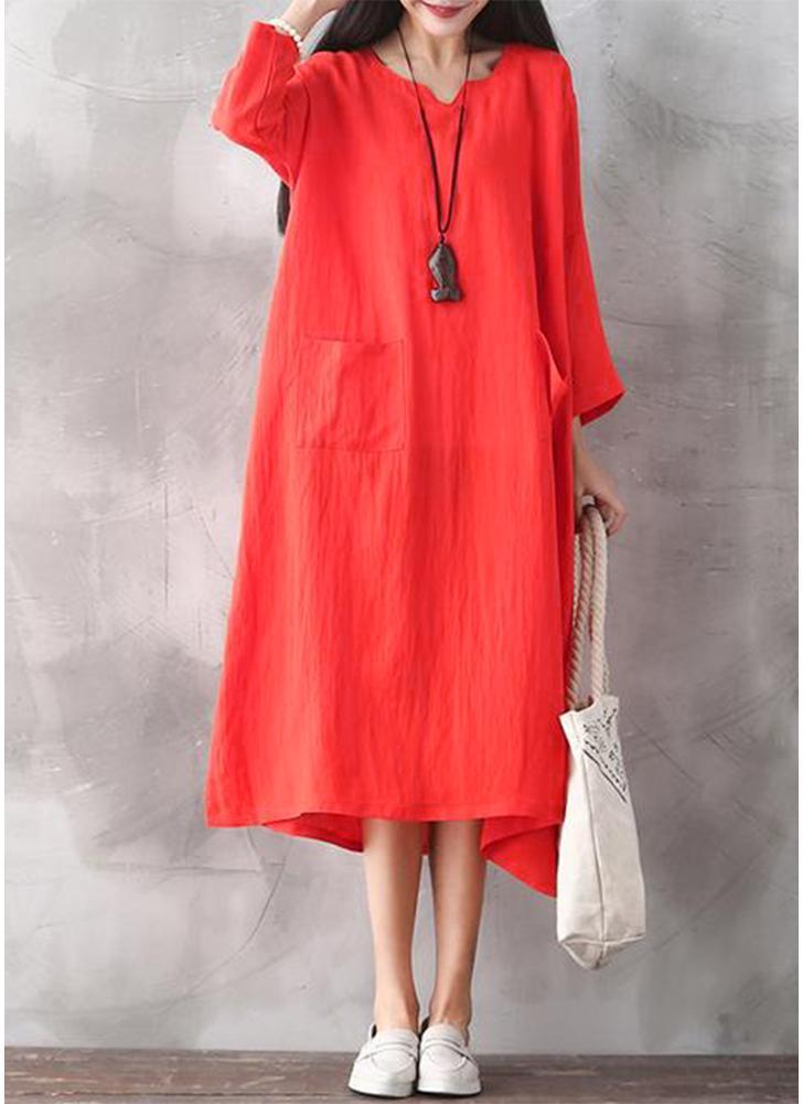 Femmes Surdimensionnées Rétro Dress Occasionnel Lâche Long Dress Poches Robe Solide