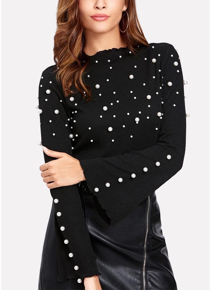 Women Peal Beading Embellished Ribbed O Neck Flared Sleeve T-Shirt