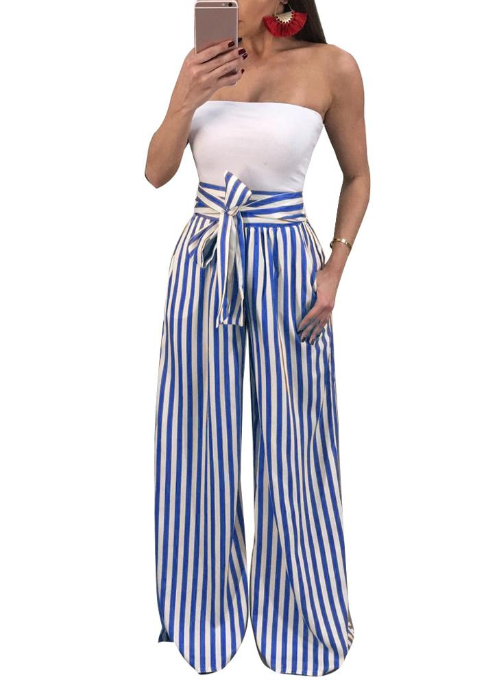 Women Pants Contrast Stripes Print High Waist Straight Wide Legs Bow Tie Casual Trousers Party Wear