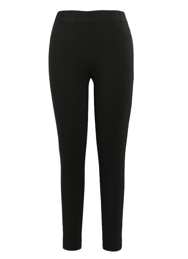 Femmes Crayon Pantalon Casual taille élastique Skinny Pantalons Collants solides Stretch Leggings