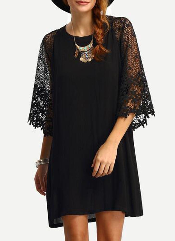 Women Loose Dress Sheer Lace Cut Out 3 4 Sleeve Casual Short Dress Solid  Mini 911ca4c397