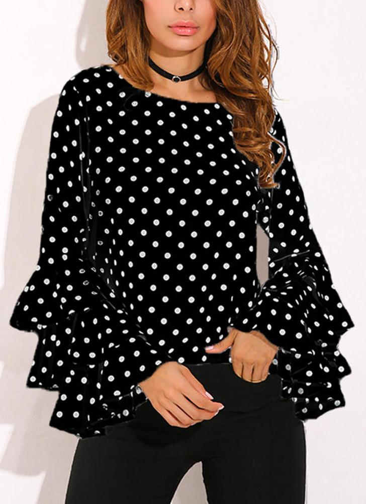 Women Polka Dot Ruffle Blouse Top Long Sleeves O-Neck Elegant Casual Shirt