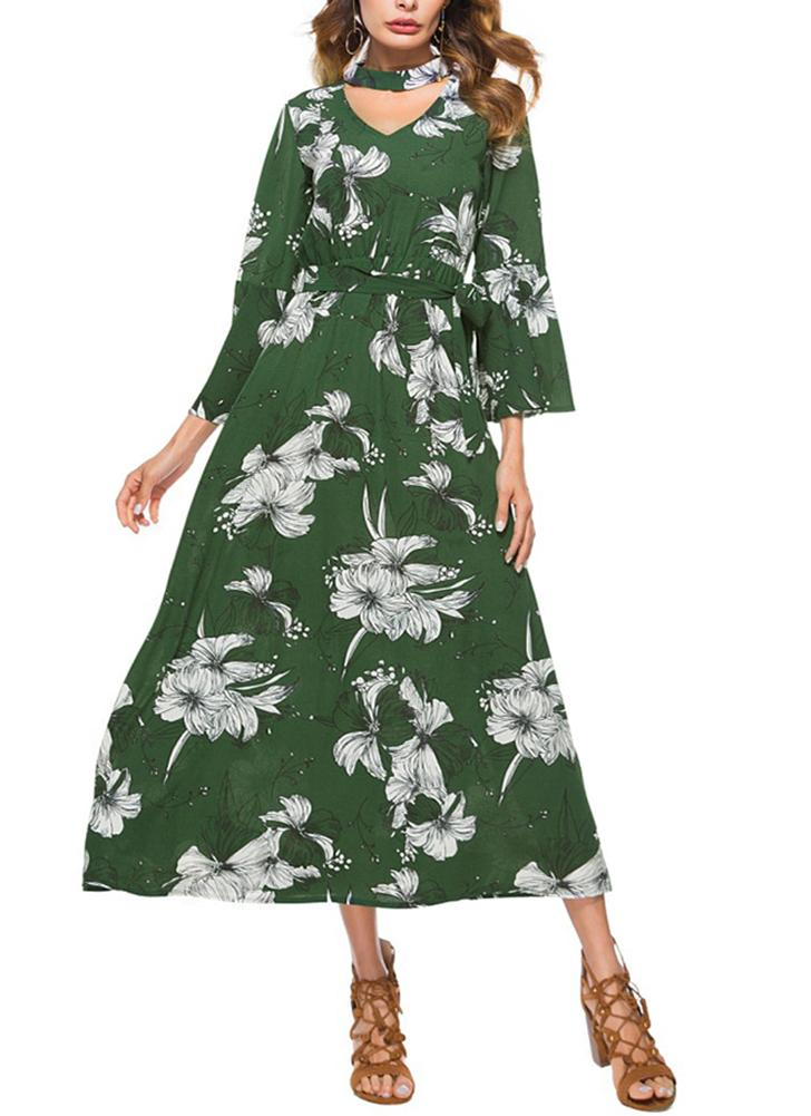 Floral Print Cut Out V-Neck Chocker Flare Sleeve Chiffon Maxi Dress