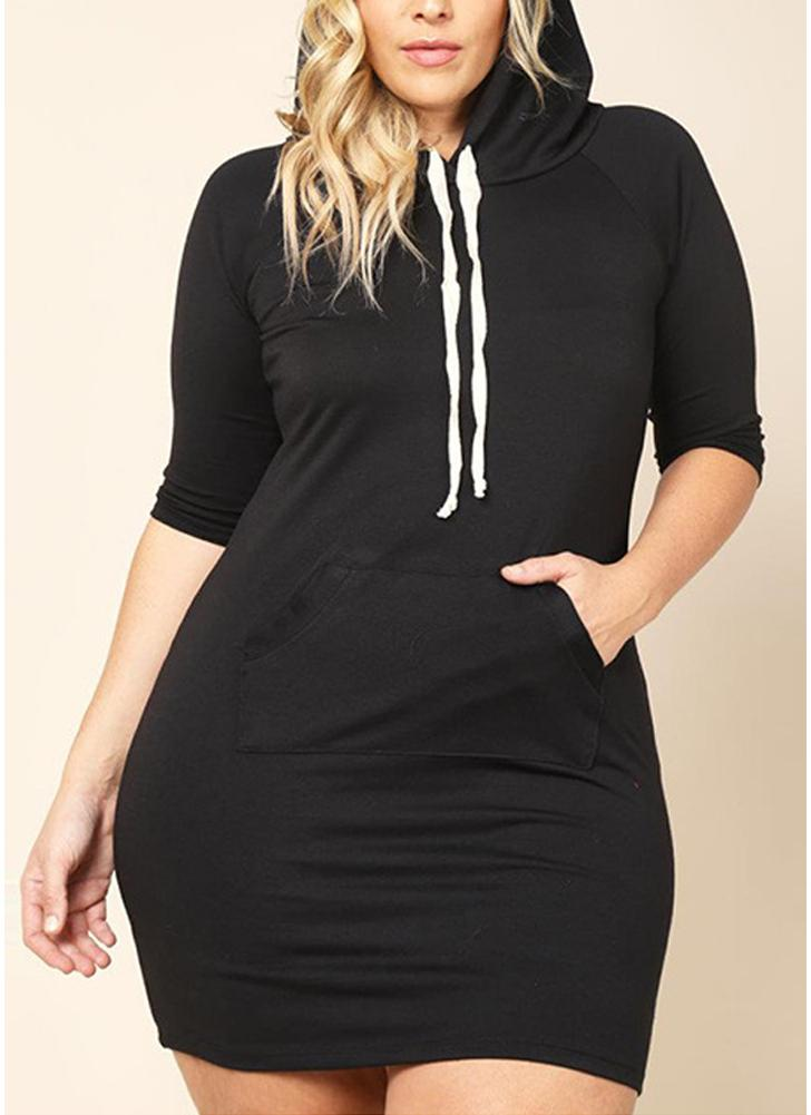 Women Plus Size Long Hooded Solid Half Sleeve Pockets Casual Slim Mini Sweatshirt Dress