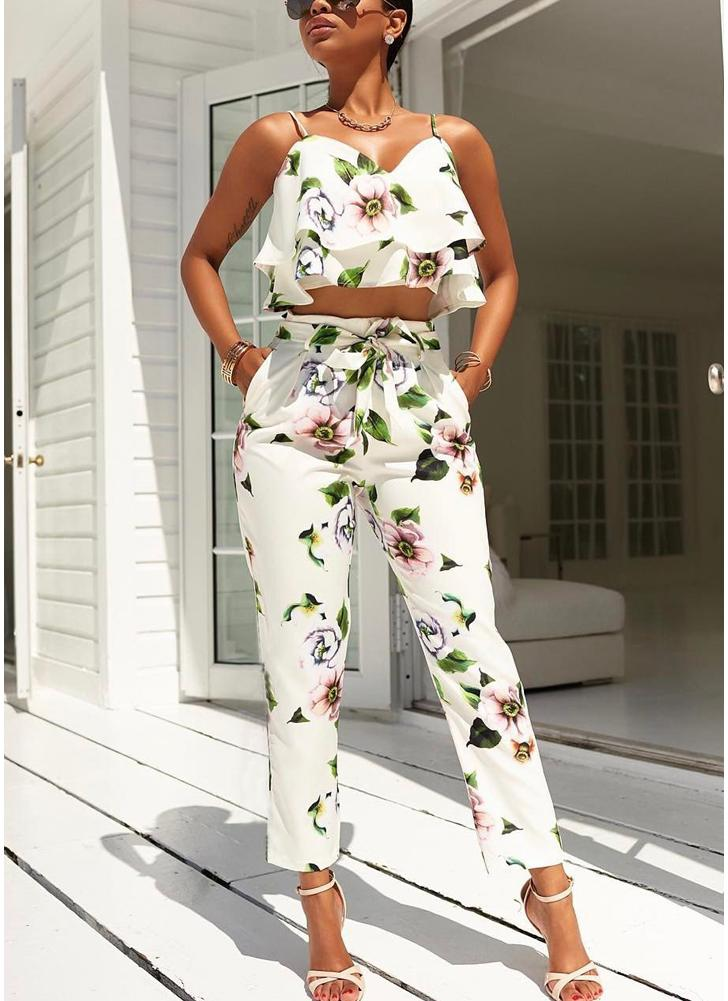 Women Summer Floral Printed Spaghetti Strap Double Ruffles Crop Tops & Long Pants Sets