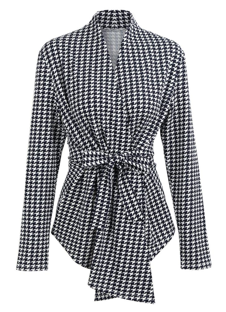 Women Houndstooth Plaid Cardigan Coat Long Sleeves Open Front Waist Strap Asymmetrical Casual Tops Outwear