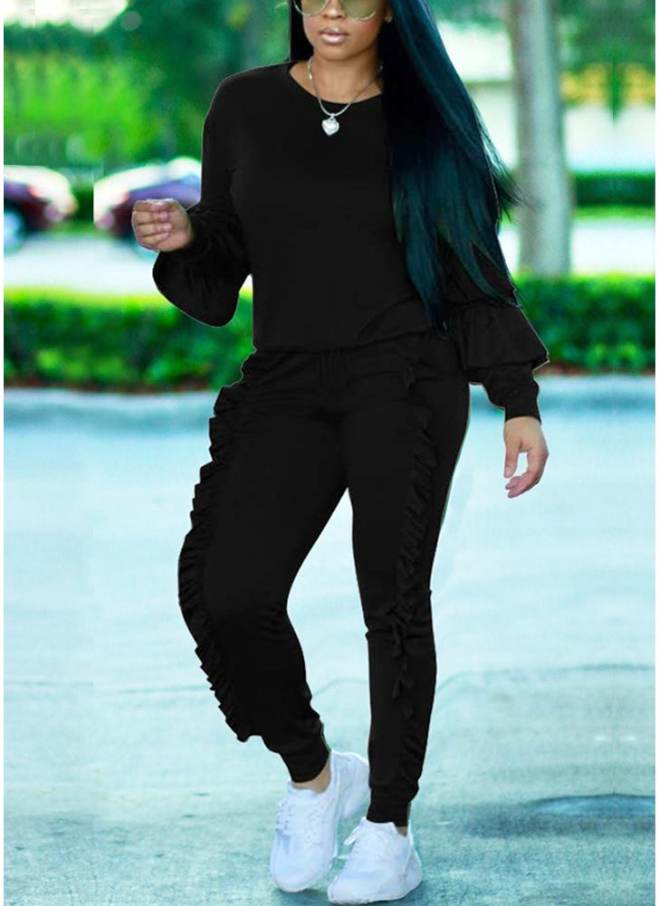 Fashion Women Two-Piece Set Solid Ruffled Top Drawstring Long Pants Long Sleeve Hoodies Casual Sportswear