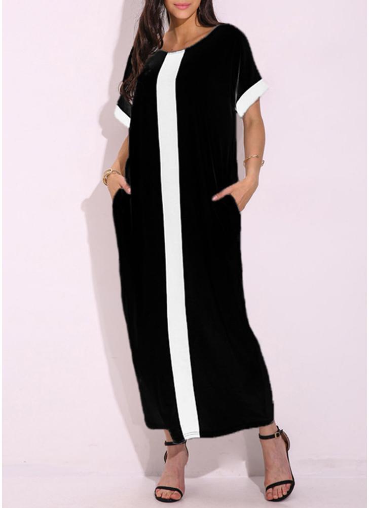Maxi vestito allentato casuale manica corta con maniche a contrasto a maniche corte