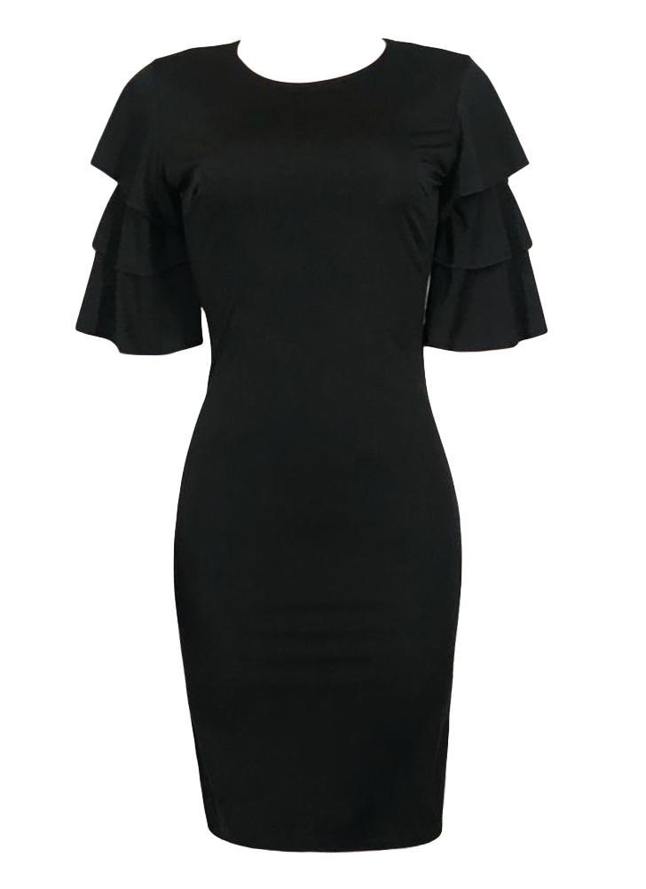 Sexy Women Pencil Dress Ruffle O-Neck Layered Sleeve Nightclub Party Bodycon Slim Vestido Midi