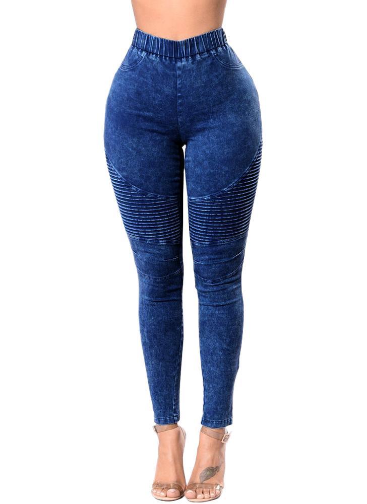 Jeans skinny donna Denim Vita alta Pantalone attillato lavato elasticizzato  e lavato con pantaloni. Leggings 147a143acda
