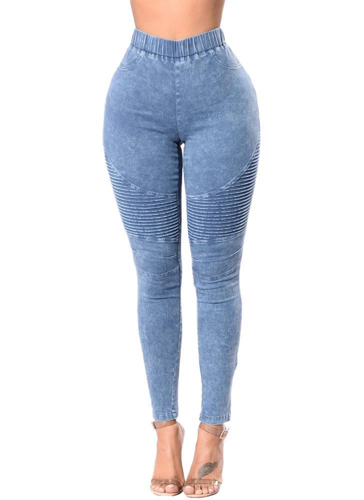 Mulheres Jeans magros Denim Cintura alta Elastic Washed Ruched Skinny  Pencil Calças Calças Leggings 75067a330a3