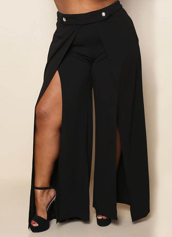 Femmes Sexy Grande Taille Pantalon Large Jambe Haute Split Occasionnel Lâche Solide Long Pantalon Plus La Taille Pantalon