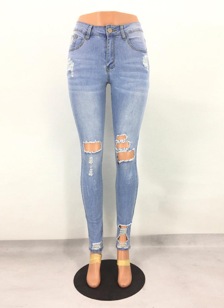 Pantaloni jeans a vita bassa skinny attillati sexy a vita alta con jeans  strappati d654b71c92aa
