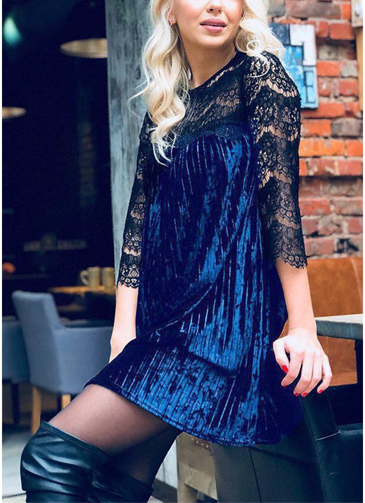 Sexy Women Lace Veludo esmagado Mini vestido Lace Splicing Half Sleeve Evening Party Cocktail Shift Dress