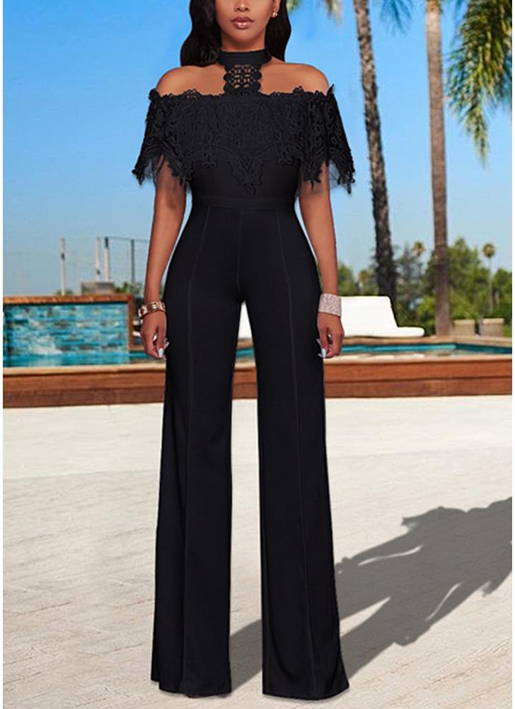 Mulheres Off the Shoulder Jumpsuit Lace Halter Wide Leg Pants Long Trousers Overalls Playsuit
