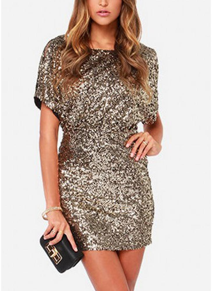 Sexy Women Sparkling Sequin Dress Split O-Neck Короткие рукава Bodycon Nightwear Cocktail Evening Party Mini Dresses