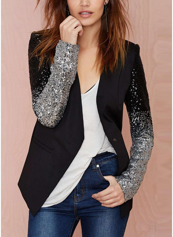 Frauen Blazer Mantel funkelnden Pailletten langen Ärmeln unregelmäßigen Rand elegante Outwear Jacke Business-Anzug