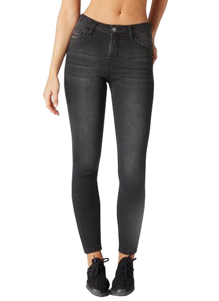 Las mujeres atractivas Skinny Denim Jeans Washed Slim Bodycon Pants Medias Lápiz Pantalones