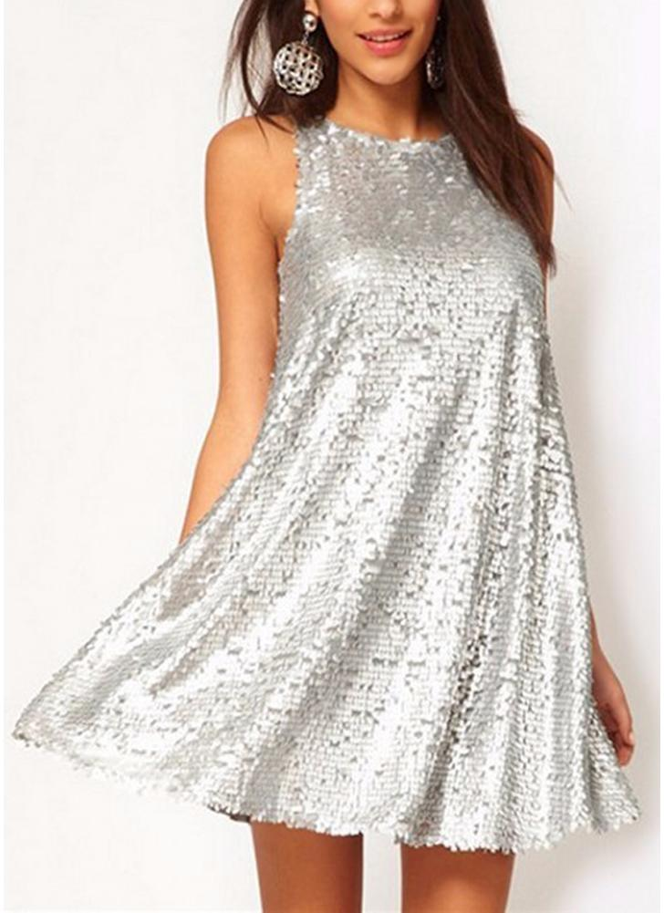 Sexy Women Silver Sequin Swing Dress O Neck Sleeveless Evening Party Mini Dress do clube