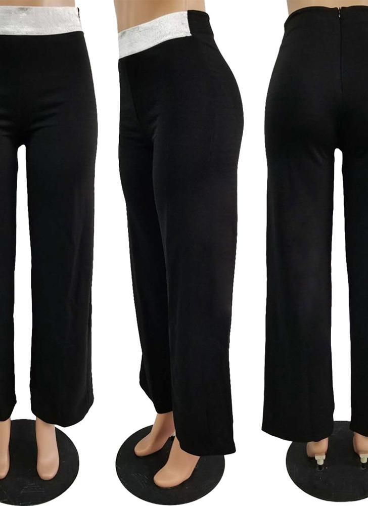 Pantalones de las mujeres brillo de lentejuelas cintura alta piernas anchas rectos pantalones casuales desgaste de la etapa de baile