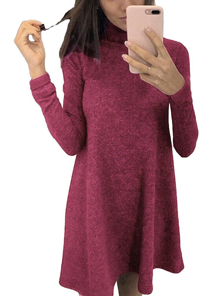 Femmes T-shirt Robe Solide Couleur Col Haut Manches Longues A-ligne Flare Mini Basic Casual One-Piece