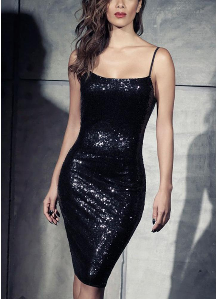 Sexy Women Bodycon Spaghetti Strap Sequins Dress Backless Night Club Party Sparkle Dress