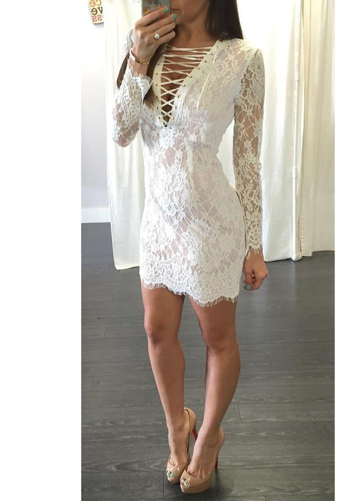Sexy Women Lace Dress Deep V Neck Crisscross Bandage Long Sleeve Slim Bodycon Mini Dress