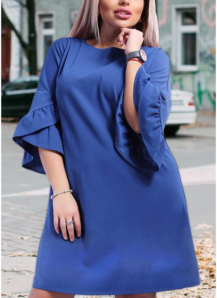 Women Plus Size Loose Dress Solid Flare Half Layered Sleeves Elegant Mini Dresses