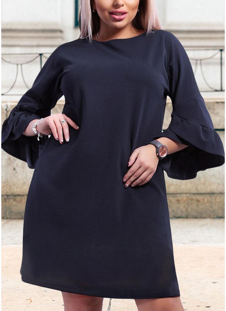 Dark Blue 3xl Women Plus Size Loose Dress Solid Flare Half Layered