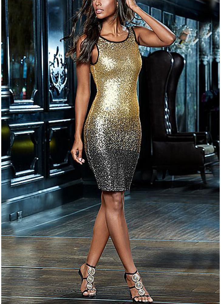 golden l Sexy Frauen Farbverlauf Sommer Pailletten Kleid Lace Up ...