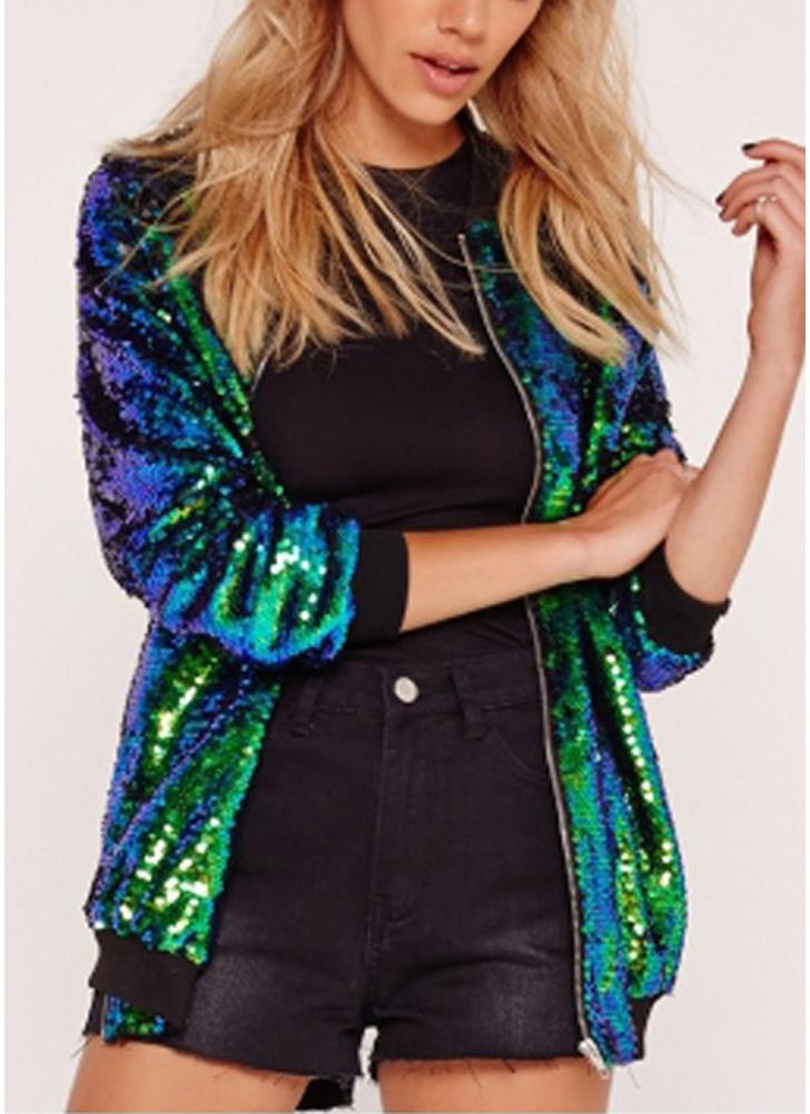 Mode Frauen Pailletten Mantel Bomberjacke Langarm Reißverschluss Streetwear beiläufige lose Glitter Oberbekleidung